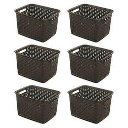Sterilite 12736 Tall Wicker Weave Plastic Laundry Storage Ba