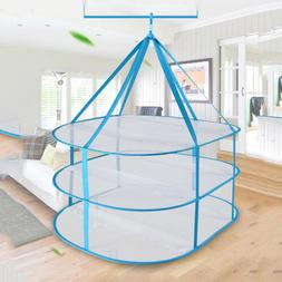 3 Layers Drying Rack Net Foldable Hanging Clothes Laundry Sw