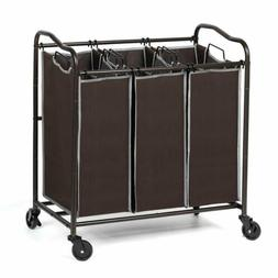3 Section Heavy Duty Laundry Sorter Movable basket with Remo