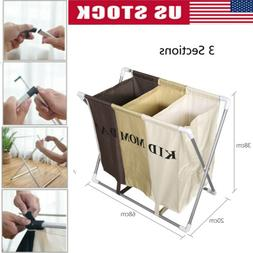 3 Sections Basket Laundry Hamper Foldable Wash Clothes Dirty