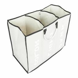 3 Sections Large Dirty Clothes Hamper Foldable Bag Bin Organ