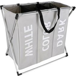 3 Section Laundry Sorter Hamper Clothes Storage Basket Organ