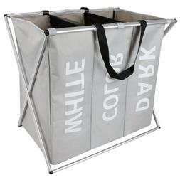 3 sections large foldable laundry basket bin