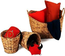 3 Set of Woven Basket Laundry With Handle Sea-grass Waste Bi