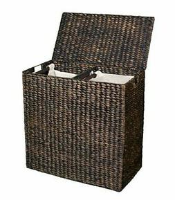 BirdRock Home Water Hyacinth Laundry Hamper Divided Interior