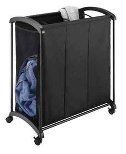 Whitmor 3 Section Laundry Sorter with Wheels - Black