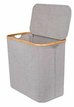 BIRDROCK HOME Bamboo & Canvas Hamper | Single Laundry Basket
