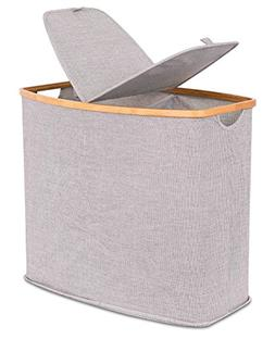 BirdRock Home Divided Bamboo & Canvas Hamper | Double Laundr