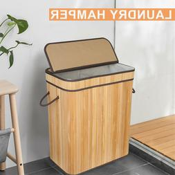Bamboo Laundry Basket Lid Double Hamper 2 section Clothes St