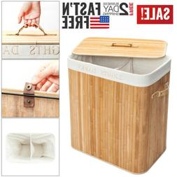 Bamboo Laundry Hamper Storage Basket Folding Dirty Clothes H
