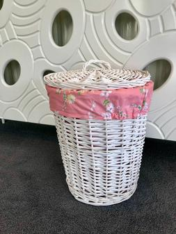 Brand New Small White Wicker Basket Shabby Chic Vintage Laun