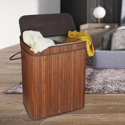 brown 2 section laundry basket dirty cloth