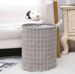 Canvas Gray Laundry Room College Dorm Hamper Clothes Basket