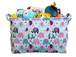 Large Canvas Storage Bin with Elephant Designs for Nursery a