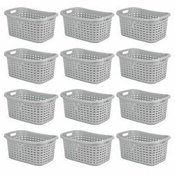 Sterilite Cement Gray Durable Weave Laundry Basket with Wick