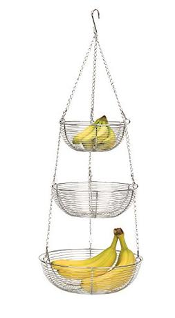 RSVP Chrome 3 Tier Hanging Woven Wire Fruit Basket