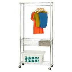 Chrome Finish Trendy Rolling Laundry Station W/ Durable Hang