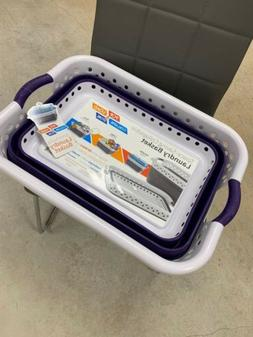 Collapsible Laundry Basket - Purple And White