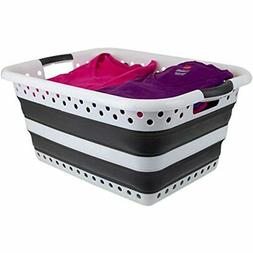 Home Basics Collapsible Laundry Basket With Handles, Plastic