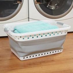 Easy to Store Large Plastic Collapsible Laundry Basket