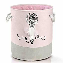 Collapsible Pink Nursery Hamper Cotton Baby Girl Laundry Bas