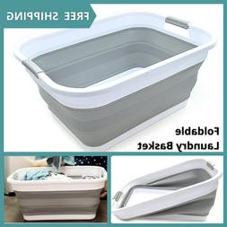 Collapsible Plastic Laundry Basket - Space Saving Foldable S