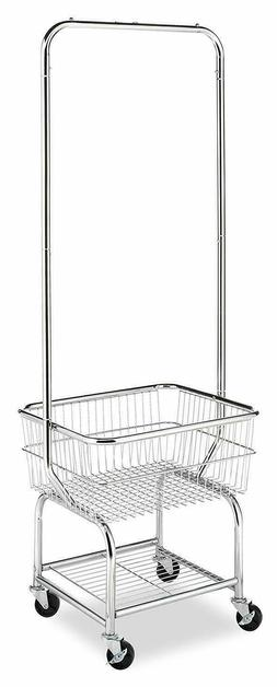 Whitmor Commercial Rolling Laundry Butler with Wire Storage