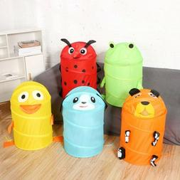 Cute Kids Eject Foldable Animal Toy Laundry Bag Clothes Stor
