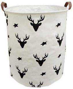 Deer Storage Bin Laundry Basket Organizer White Nursery Deco