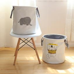 Dirty Wash Clothes Bucket Canvas Laundry Basket Baby Kids To