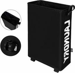 DOKEHOM Slim Laundry Basket with Leather Handle on Wheels ,