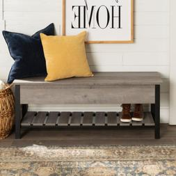 Entryway 48 in. Gray Wash Open-Top Storage Bench with Shoe S