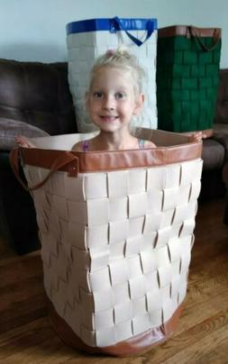 felt basket,woven,green and brown,tall,laundry basket,new,st