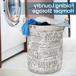 Foldable Cotton Linen Laundry Basket Washing Clothes Storage