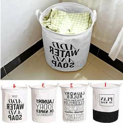 Foldable Laundry Hamper Cotton Basket Bag Dirty Washing Clot