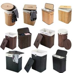 Folding Bamboo Laundry Basket Dirty Clothes Storage Bin with