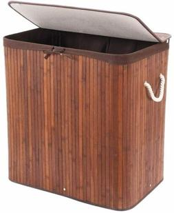 Folding Bamboo Laundry Basket with Lid Removable Bag Dirty C