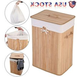 Folding Double Rectangle Bamboo Hamper Laundry Basket Cloth