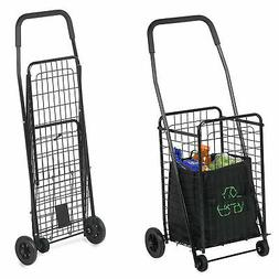 Folding Shopping Cart Basket With Wheels For Laundry Travel