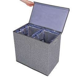 Grey Foldable Double Laundry Hamper Clothes Basket with Lid