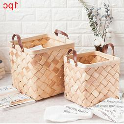 Wooden Hand Woven Laundry Holder With Handle Living Room Sto