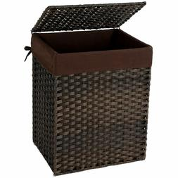 Handwoven Laundry Basket, Synthetic Rattan Clothes Hamper wi