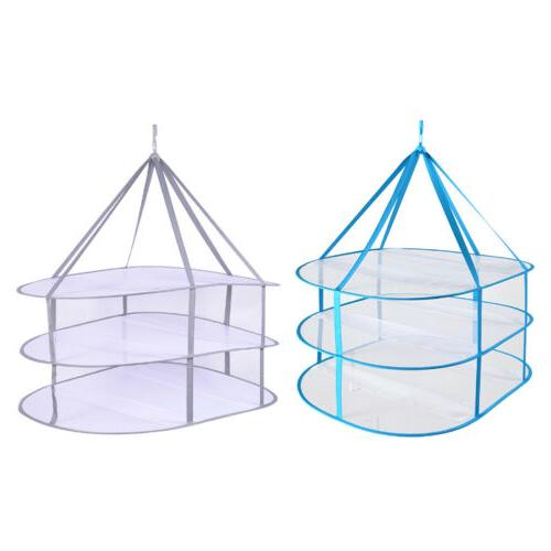 Clothes Sweater Hanging Drying Rack 3 Tier flat mesh Basket