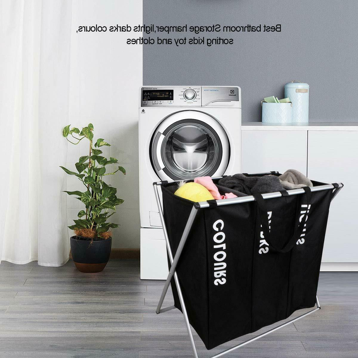 3 Section Laundry Hamper Storage Organizer Bags