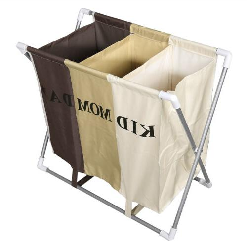 Foldable Clothes Laundry Basket 3 Section Hamper Bag Large C