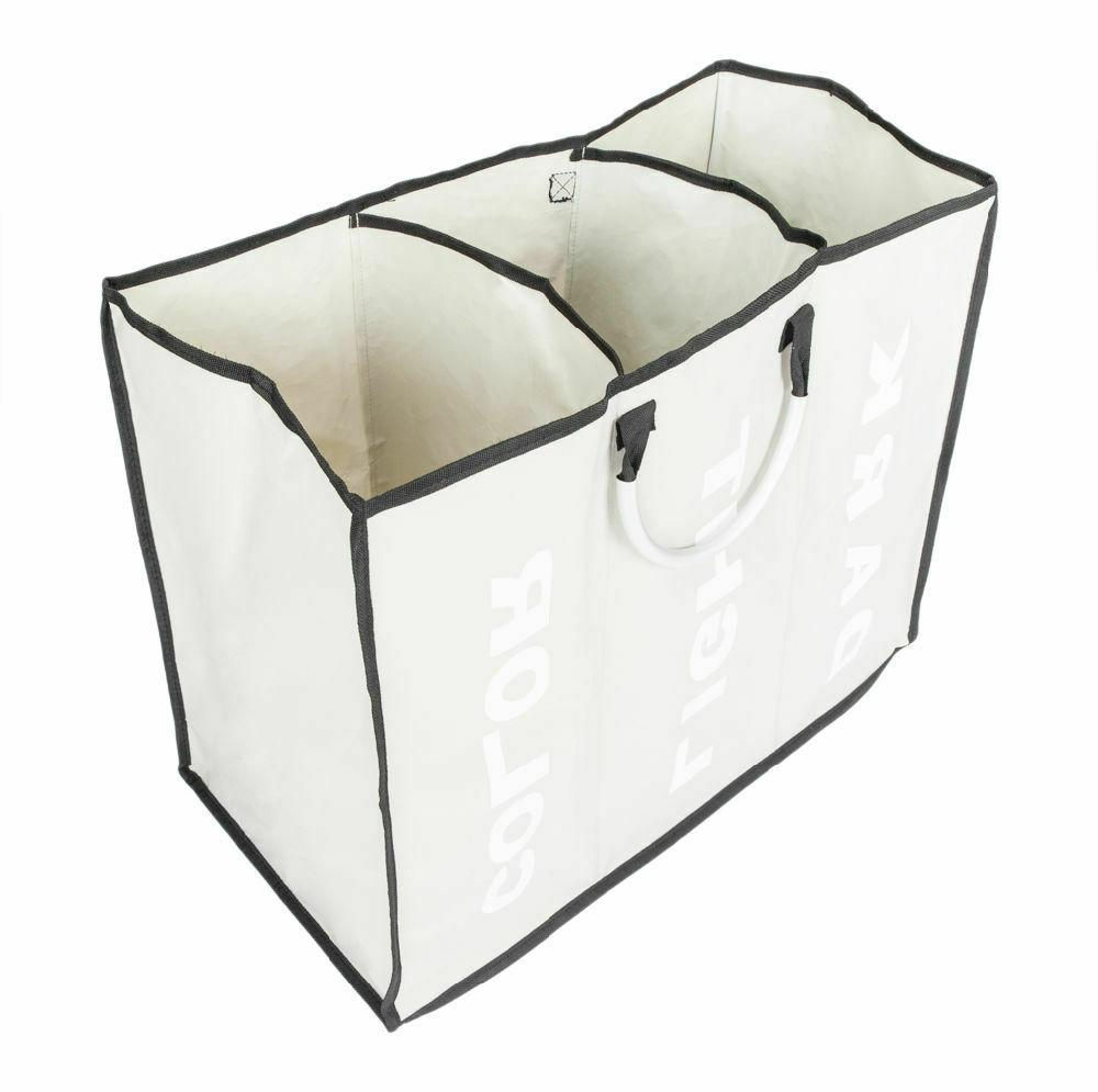 3 sections large dirty clothes hamper foldable