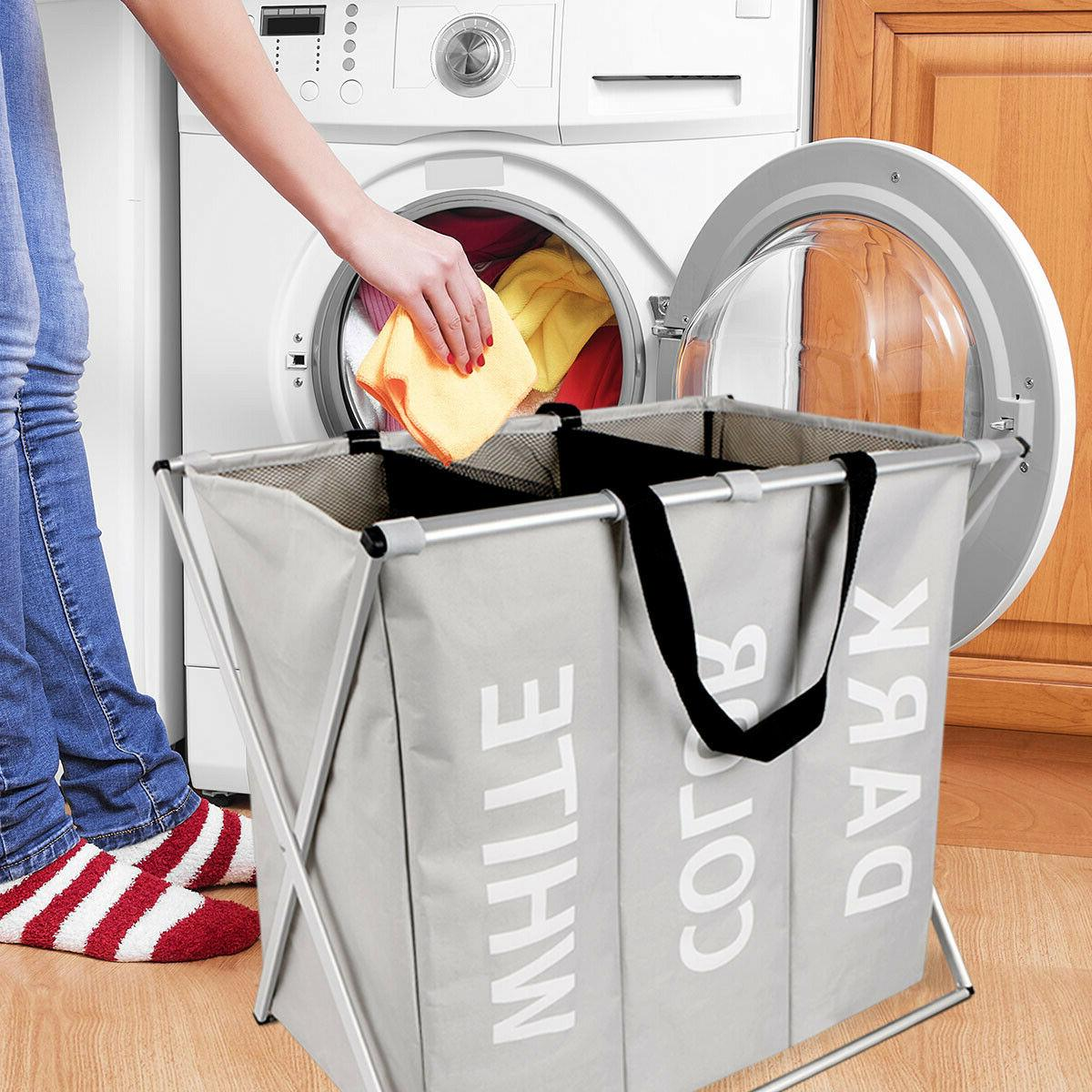 3 Sections Laundry Basket Hamper Storage Bags