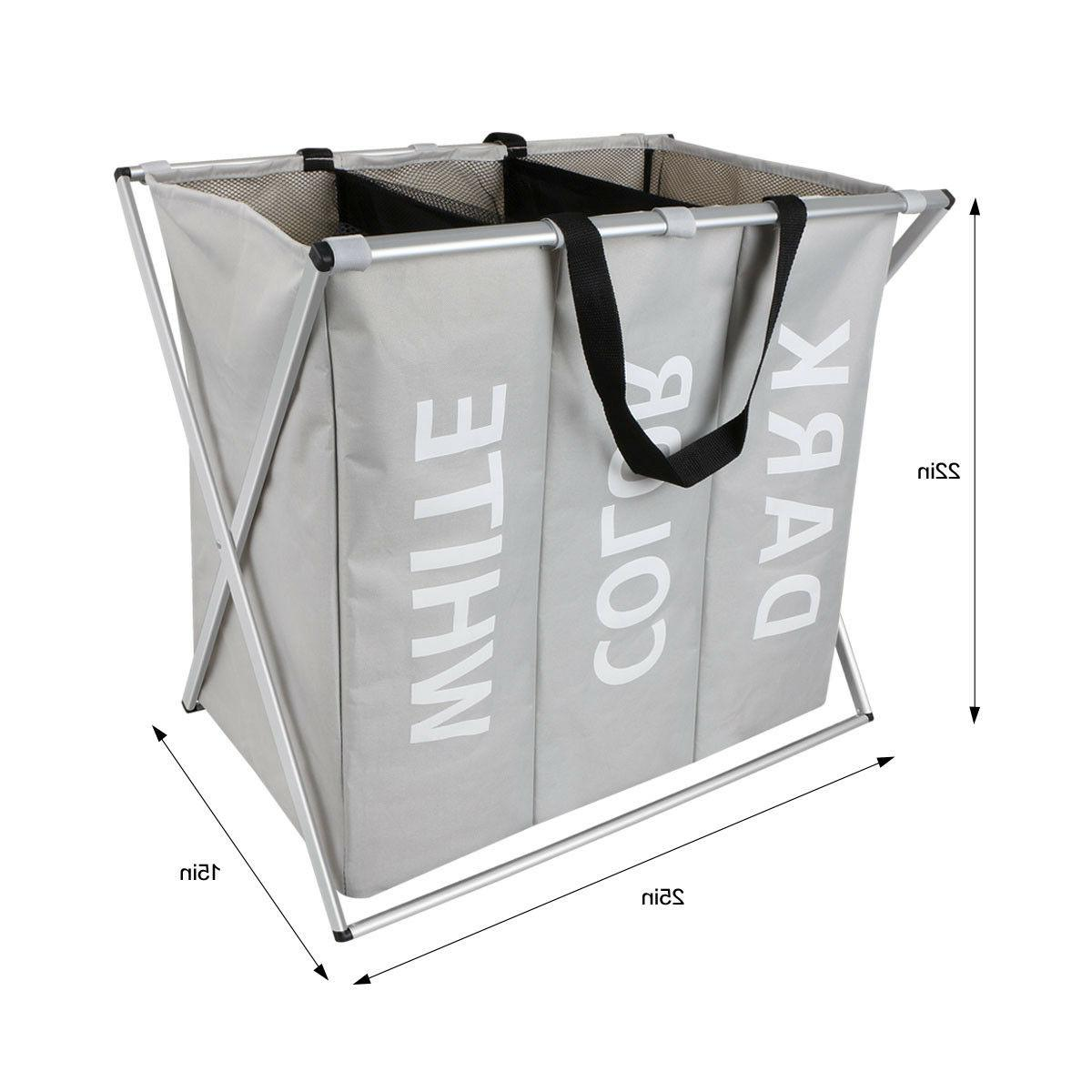 3 Sections Laundry Basket Bin Storage Washing Clothes