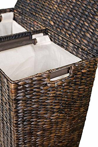 BirdRock Hyacinth Laundry Hamper Divided | of Hand Woven Fibers | Includes Removable Liners | Wicker Basket