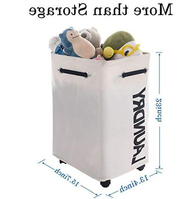 AcmeSoy Rolling Laundry with Wheels Clothes